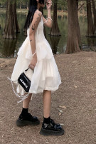 Dress Spring 2020 White suspender skirt, one piece pompous skirt Average size longuette commute middle-waisted letter A-line skirt Type A printing 30% and below other