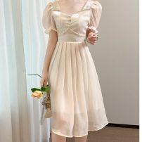 Dress Summer 2021 Champagne S,M,L,XL Middle-skirt singleton  Short sleeve commute V-neck middle-waisted Solid color zipper A-line skirt puff sleeve Korean version 3D 9355#