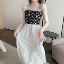 Dress Summer 2021 Picture color S,M,L Mid length dress singleton  Sleeveless commute High waist other A-line skirt camisole 18-24 years old Type A Korean version Chain, splicing four point one one 31% (inclusive) - 50% (inclusive)