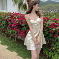 Dress Summer 2021 Apricot, blue S,M,L Short skirt singleton  commute High waist Solid color Socket A-line skirt camisole 18-24 years old Type A Korean version Bow tie Four point nine