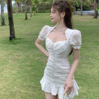 Dress Summer 2021 white S,M,L Short skirt singleton  Short sleeve commute V-neck High waist Solid color Socket A-line skirt puff sleeve 18-24 years old Type A Korean version fold four point one three