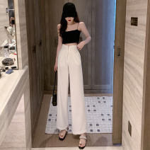 Casual pants White, black, pink purple S,M,L Spring 2021 trousers Wide leg pants High waist commute Thin money 18-24 years old six point one two Korean version