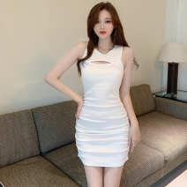 Dress Summer 2021 White, black S,M,L Short skirt singleton  Sleeveless commute High waist Solid color Socket One pace skirt 18-24 years old Type A Korean version Hollowing out three point three zero 30% and below