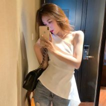 Lace / Chiffon Spring 2021 White, black Average size Sleeveless commute Socket singleton  Self cultivation Regular Slant collar Solid color 18-24 years old three point one seven Korean version