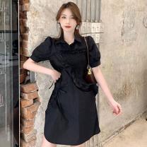 Dress Summer 2021 black S, M Short skirt singleton  Short sleeve commute Polo collar High waist Solid color Socket A-line skirt 18-24 years old Type A Korean version Frenulum three point two four