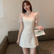 Dress Summer 2021 White, black M, L Short skirt singleton  Short sleeve commute square neck High waist other A-line skirt puff sleeve 18-24 years old Type A Korean version Four point two 31% (inclusive) - 50% (inclusive)