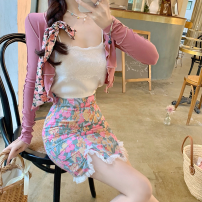 Fashion suit Summer 2021 S. M, average size Pink cardigan, white suspender, floral skirt 18-25 years old Four point eight 31% (inclusive) - 50% (inclusive) polyester fiber