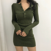 Dress Summer 2021 Black button dress, green button dress Average size Short skirt singleton  Long sleeves commute Crew neck High waist Solid color Socket One pace skirt routine 18-24 years old Type A Korean version Button Four point eight