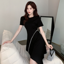 Dress Summer 2021 black S,M,L Middle-skirt singleton  Short sleeve commute Crew neck High waist Solid color Socket Irregular skirt routine Others Type A Four point four cotton