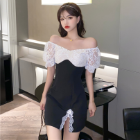 Dress Summer 2021 White, black S,M,L Short skirt singleton  Short sleeve commute One word collar High waist zipper A-line skirt puff sleeve 18-24 years old Type A Korean version Stitches, beads, lace four point one four 91% (inclusive) - 95% (inclusive) other polyester fiber