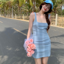 Dress Summer 2021 Ice cream blue S,M,L Short skirt singleton  Sleeveless commute square neck High waist Solid color Socket A-line skirt camisole 18-24 years old Type A Korean version fold four point one two