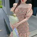 Dress Summer 2021 Picture color Average size Short skirt singleton  Short sleeve commute One word collar High waist Broken flowers One pace skirt puff sleeve 18-24 years old Type A Korean version Ruffles, folds Four point three