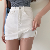 skirt Summer 2021 S,M,L white Short skirt commute High waist skirt Solid color Type A 25-29 years old four point one four 30% and below other Korean version