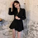 Dress Spring 2021 black Average size Middle-skirt singleton  Long sleeves commute V-neck High waist Solid color Socket A-line skirt routine 18-24 years old Korean version Eight point seven More than 95%