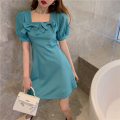 Dress Summer 2021 Malachite blue S, M Short skirt singleton  Short sleeve commute square neck High waist Solid color A-line skirt puff sleeve 18-24 years old Type A Retro bow Four point eight
