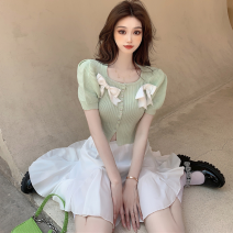 Fashion suit Summer 2021 Average size Green top, pink top, white skirt 18-25 years old four point one one