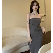 Dress Summer 2021 Gray, black Average size Mid length dress singleton  Sleeveless commute High waist Solid color Socket One pace skirt Hanging neck style 18-24 years old Type A Retro fold Four point nine other