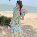 Dress Summer 2021 Picture color Average size longuette singleton  Short sleeve commute square neck High waist Broken flowers Socket A-line skirt puff sleeve 18-24 years old Type A Korean version four point one one