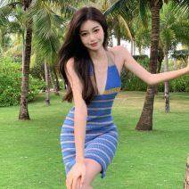 Dress Summer 2021 blue Average size Short skirt singleton  Sleeveless commute High waist stripe Socket A-line skirt Hanging neck style 18-24 years old Type A Korean version Three point eight 31% (inclusive) - 50% (inclusive) other