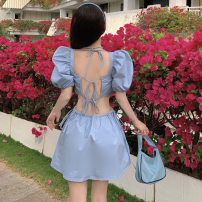 Dress Summer 2021 blue S, M Short skirt singleton  Short sleeve commute square neck High waist Solid color Socket A-line skirt puff sleeve 18-24 years old Type A Korean version fold Four point three 30% and below other cotton