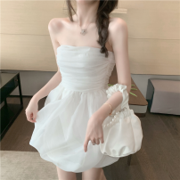 Dress Summer 2021 Picture color S, M Short skirt singleton  Sleeveless commute High waist Solid color A-line skirt Breast wrapping 18-24 years old Type A Korean version backless four point one one