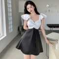 Dress Summer 2021 Picture color S, M Short skirt singleton  Short sleeve commute square neck High waist other A-line skirt Flying sleeve 18-24 years old Type A Retro Four point eight