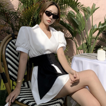 Fashion suit Summer 2021 Average size White shirt dress, black waist cover 18-25 years old Four point one