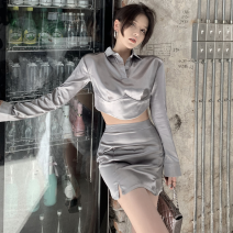 Fashion suit Summer 2021 S, M Silver grey top , Silver grey skirt 18-25 years old Four point seven 96% and above