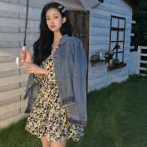 Fashion suit Summer 2021 Average size Denim jacket, floral skirt 18-25 years old Four point four