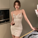Dress Summer 2021 White, black Average size Short skirt singleton  Sleeveless commute High waist Solid color Socket One pace skirt camisole 18-24 years old Type A Korean version Lace four point one three
