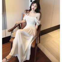 Dress Summer 2021 White, purple Average size Mid length dress singleton  Short sleeve commute One word collar High waist Solid color A-line skirt routine 18-24 years old Type A Retro fold Four point eight 31% (inclusive) - 50% (inclusive)