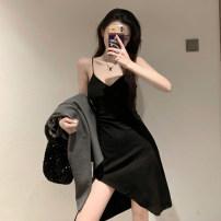 Dress Spring 2021 Gray, black Average size Middle-skirt singleton  Sleeveless commute V-neck High waist Solid color Socket Irregular skirt camisole 18-24 years old Type A Korean version three point three zero