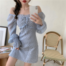 Dress Summer 2021 White, new grey S,M,L Short skirt singleton  Long sleeves commute High waist Solid color Socket One pace skirt 18-24 years old Type A Korean version Splicing three point two six 81% (inclusive) - 90% (inclusive) other