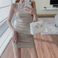 Dress Summer 2021 Khaki, black Average size Short skirt singleton  Sleeveless commute High waist Solid color Socket A-line skirt 18-24 years old Type A Korean version Hollowing out three point three one