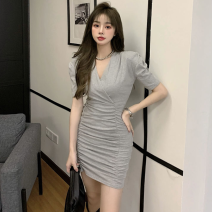 Dress Summer 2021 Grey dress, black dress Average size Short skirt singleton  Short sleeve commute V-neck High waist Solid color One pace skirt puff sleeve 18-24 years old Type A Korean version fold three point two seven 31% (inclusive) - 50% (inclusive)