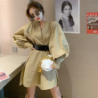 Dress Spring 2021 Khaki (belt), black (belt) Average size Short skirt singleton  Long sleeves commute V-neck High waist Solid color A-line skirt bishop sleeve Others 18-24 years old Type A Korean version Two point five 71% (inclusive) - 80% (inclusive)
