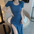 Dress Summer 2021 Blue, black Average size longuette singleton  Short sleeve commute Crew neck High waist Solid color Socket One pace skirt routine 18-24 years old Type A Korean version fold four point one three