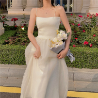Dress Summer 2021 Milky white S, M longuette singleton  commute High waist Solid color Socket A-line skirt camisole 18-24 years old Type A Korean version Gauze four point one zero