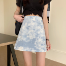 skirt Summer 2021 S,M,L Gray, blue Short skirt commute High waist A-line skirt other Type A 18-24 years old four point one zero tie-dyed Retro