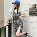 Fashion suit Summer 2021 S,M,L White shirt, Leopard Dress 18-25 years old four point one zero