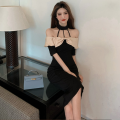 Dress Summer 2021 Picture color S,M,L longuette singleton  Short sleeve commute One word collar High waist Socket A-line skirt Hanging neck style 18-24 years old Type A Korean version Open back, Ruffle four point one four 81% (inclusive) - 90% (inclusive) polyester fiber