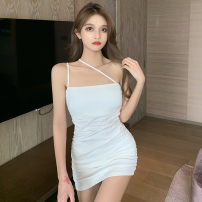 Dress Summer 2021 White, black Average size Short skirt singleton  Sleeveless commute High waist Solid color Socket One pace skirt camisole 18-24 years old Type A Korean version fold Four point six 51% (inclusive) - 70% (inclusive)
