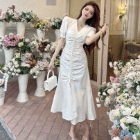 Dress Summer 2021 White, black S, M Mid length dress singleton  Short sleeve commute V-neck High waist Solid color other routine 18-24 years old Type A Korean version fold Four point eight