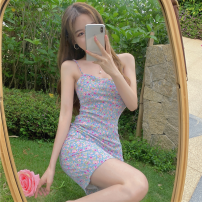 Dress Summer 2021 Picture color S, M Short skirt singleton  commute High waist Broken flowers Socket One pace skirt camisole 18-24 years old Type A Korean version Open back, lace up four point one one 31% (inclusive) - 50% (inclusive)