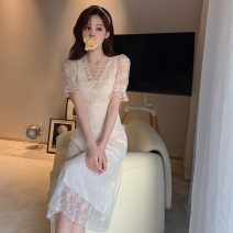 Dress Summer 2021 Graph color S, M Short skirt singleton  Short sleeve commute V-neck High waist Solid color Socket A-line skirt puff sleeve 18-24 years old Type A Korean version bow Four point four 81% (inclusive) - 90% (inclusive) Chiffon polyester fiber