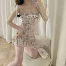 Dress Summer 2021 Comminuted flower S,M,L Short skirt singleton  Sleeveless commute High waist Broken flowers Socket One pace skirt routine camisole 18-24 years old Type A Korean version Lace, lace Four point nine polyester fiber