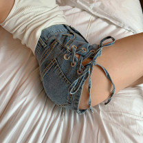 Jeans Summer 2021 blue S,M,L shorts High waist Straight pants routine 18-24 years old Button Cotton denim Dark color five point one one Other / other