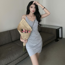 Dress Spring 2021 Gray, black Average size Short skirt singleton  Sleeveless commute V-neck High waist Solid color Socket One pace skirt camisole 18-24 years old Type A Korean version four point one one