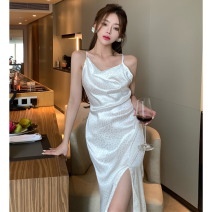 Dress Summer 2021 white Average size Mid length dress singleton  Sleeveless commute High waist other One pace skirt camisole 18-24 years old Type A Korean version backless four point one zero