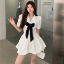 Dress Summer 2021 White, black S, M Short skirt singleton  Short sleeve commute tailored collar High waist Solid color Socket A-line skirt puff sleeve Others 18-24 years old Type A Korean version bow four point one one polyester fiber